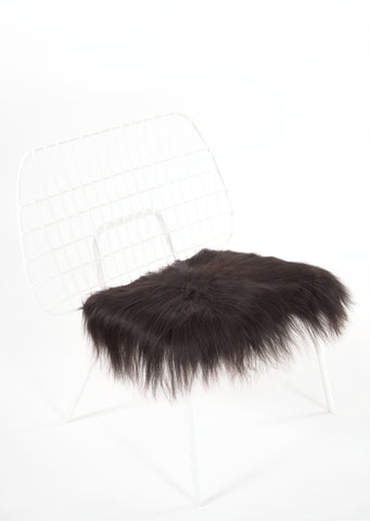 Black Icelandic Sheepskin Chair Pad - Black Sheep (White Light)