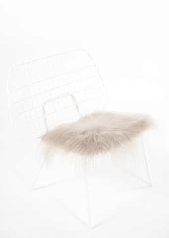 Linen Icelandic Sheepskin Chair Pad - Black Sheep (White Light)