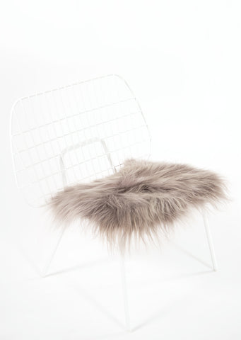 Mineral Icelandic Sheepskin Chair Pad - Black Sheep (White Light)