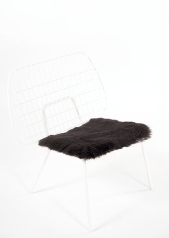 Shorn Black Icelandic Sheepskin Chair Pad - Black Sheep (White Light)