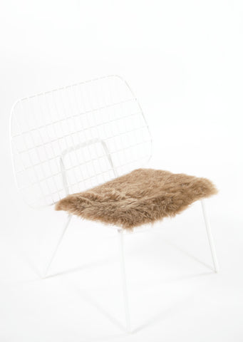 Shorn Brown Icelandic Sheepskin Chair Pad - Black Sheep (White Light)