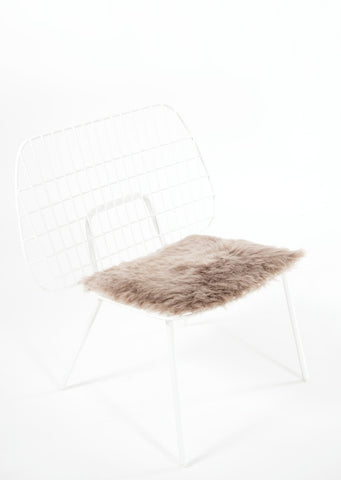 Shorn Taupe Icelandic Sheepskin Chair Pad - Black Sheep (White Light)