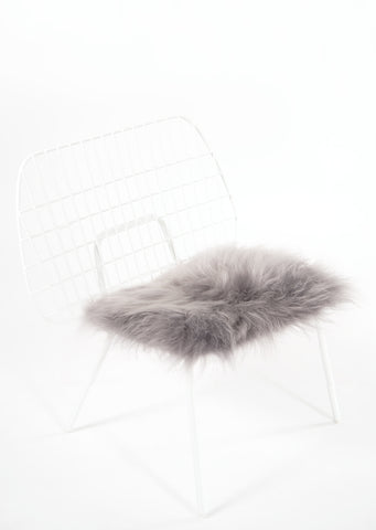 Silver Icelandic Sheepskin Chair Pad - Black Sheep (White Light)