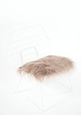 Taupe Icelandic Sheepskin Chair Pad - Black Sheep (White Light)