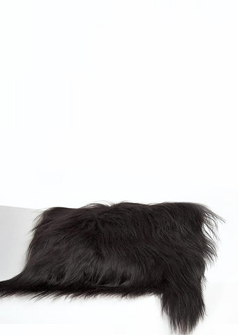 Rectangular Black Icelandic Sheepskin Pillow Cover - Black Sheep (White Light)