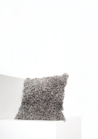 Square Grey Gotland Sheepskin Pillow Cover - Black Sheep (White Light)