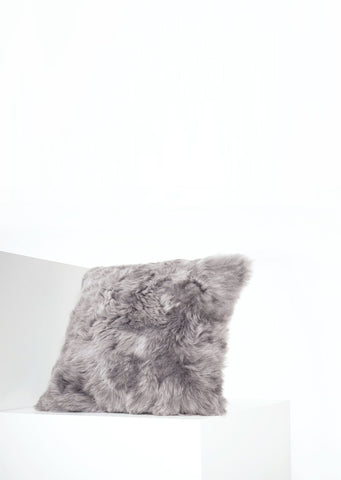 Square Shorn Silver Icelandic Sheepskin Pillow Cover - Black Sheep (White Light)