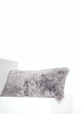 Rectangular Shorn Silver Icelandic Sheepskin Pillow Cover - Black Sheep (White Light)