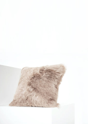 Square Shorn Taupe Icelandic Sheepskin Pillow Cover - Black Sheep (White Light)