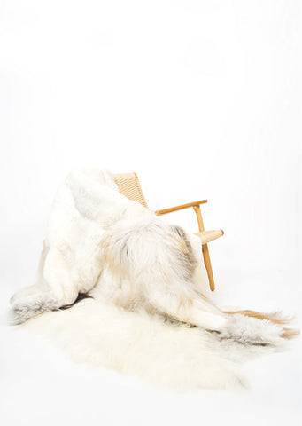 Melange Sheepskin Rug - Black Sheep (White Light)