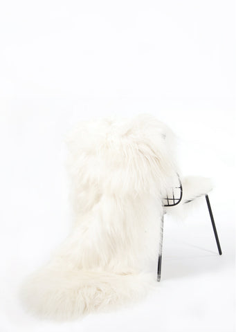 Double White Icelandic Sheepskin - Black Sheep (White Light)