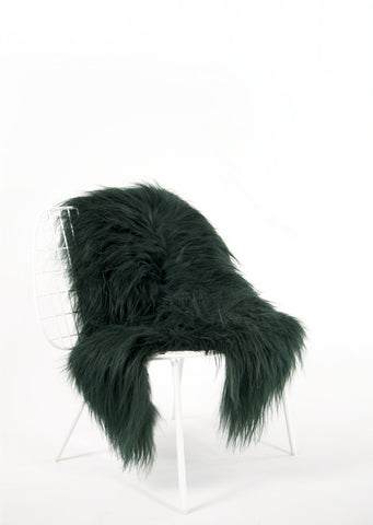 Emerald Green Icelandic Sheepskin - Black Sheep (White Light)