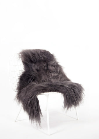 Steel Icelandic Sheepskin - Black Sheep (White Light)