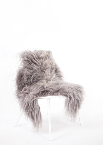 Silver Icelandic Sheepskin - Black Sheep (White Light)