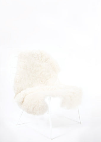 Shorn White Icelandic Sheepskin - Black Sheep (White Light)