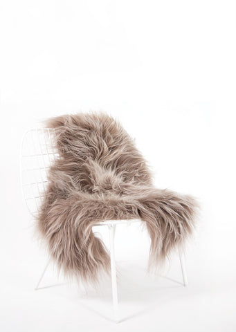 Taupe Icelandic Sheepskin - Black Sheep (White Light)