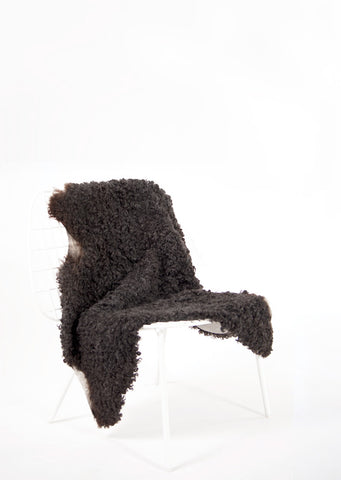 Charcoal Short Wool Gotland Sheepskin - Black Sheep (White Light)
