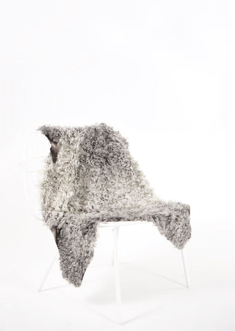 Grey Medium Wool Gotland Sheepskin - Black Sheep (White Light)