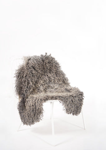 Grey Long Wool Gotland Sheepskin - Black Sheep (White Light)