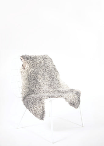 Silver Short Wool Gotland Sheepskin - Black Sheep (White Light)