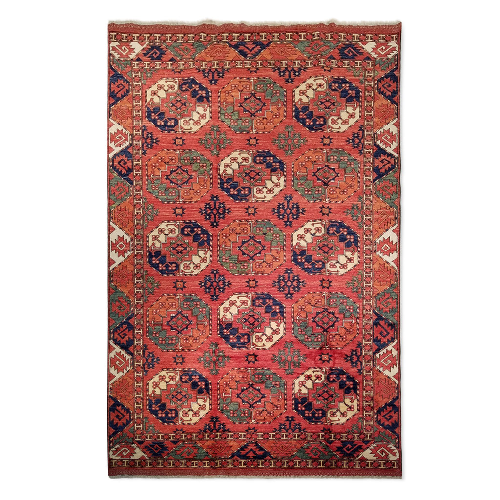 "6'8"" x 10'3""   Ersari Turkmen Design Rug Top View"