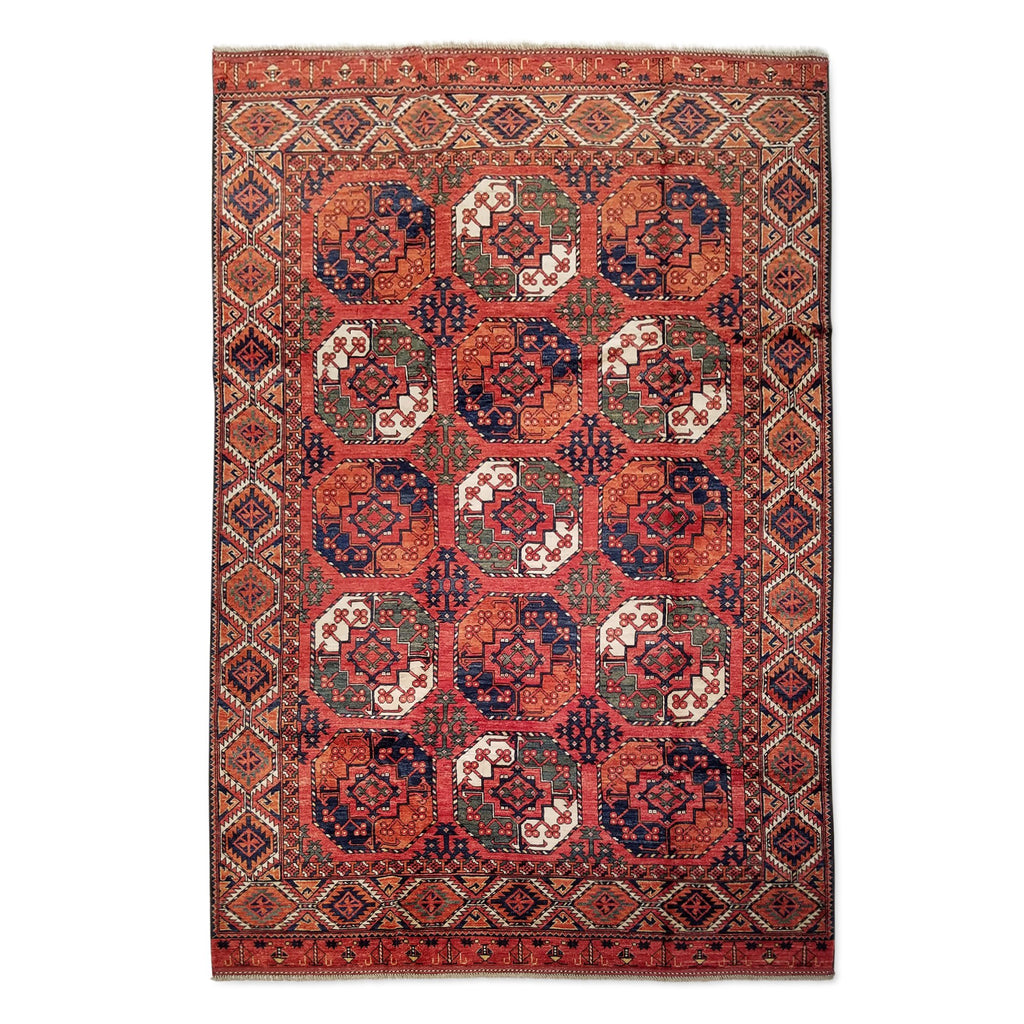 "6'6"" x 9'8""   Ersari Turkmen Design Rug Top View"