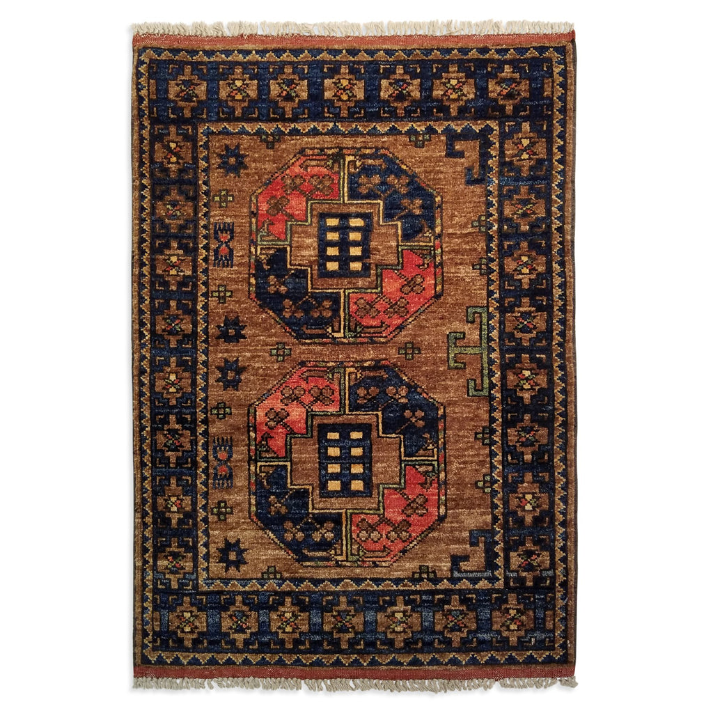 "2'2"" x 3'0""   Ersari Turkmen Design Rug Top View"