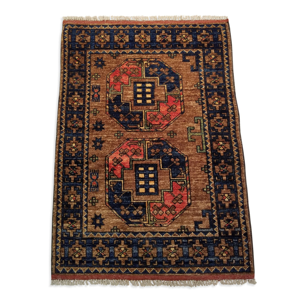 "2'2"" x 3'0""   Ersari Turkmen Design Rug Back View"