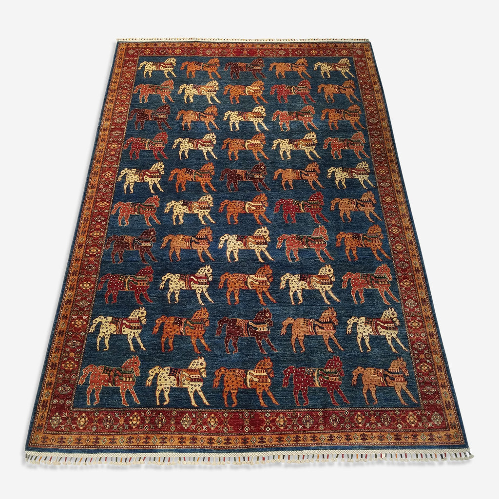 "6'8"" x 9'10""   Gabbeh with Horses Rug Top View"