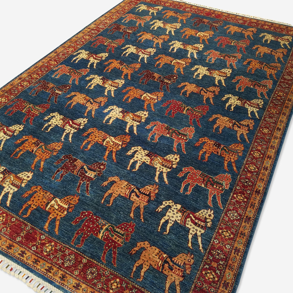 "6'8"" x 9'10""   Gabbeh with Horses Rug Angle View"