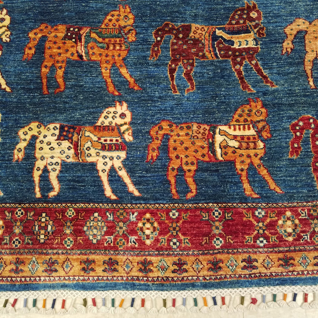 "6'8"" x 9'10""   Gabbeh with Horses Rug Back View"