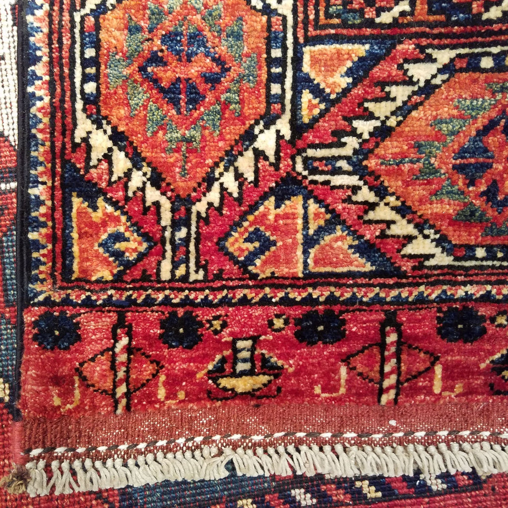 "5'2"" x 6'8""   Ersari Turkmen Design Rug Back View"
