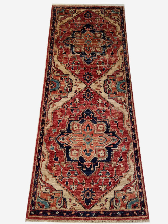 "2'0"" x 5'1""   Heriz Runner Rug Top View"