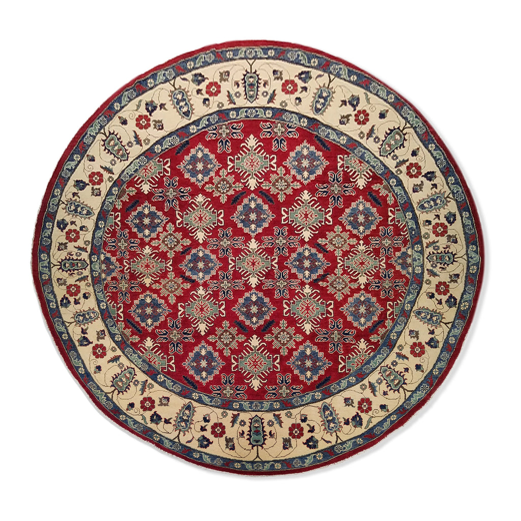 "9'7"" x 9'7""   Kazak Round Rug Top View"