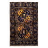 "2'1"" x 3'2""   Ersari Turkmen Design Rug Top View"