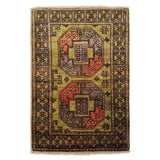 "2'0"" x 2'11""   Ersari Turkmen Design Rug Top View"