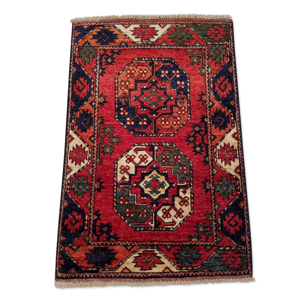 "2'0"" x 3'0""   Ersari Turkmen Design Rug Back View"