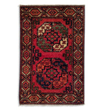 "1'11"" x 2'11""   Ersari Turkmen Design Rug Top View"