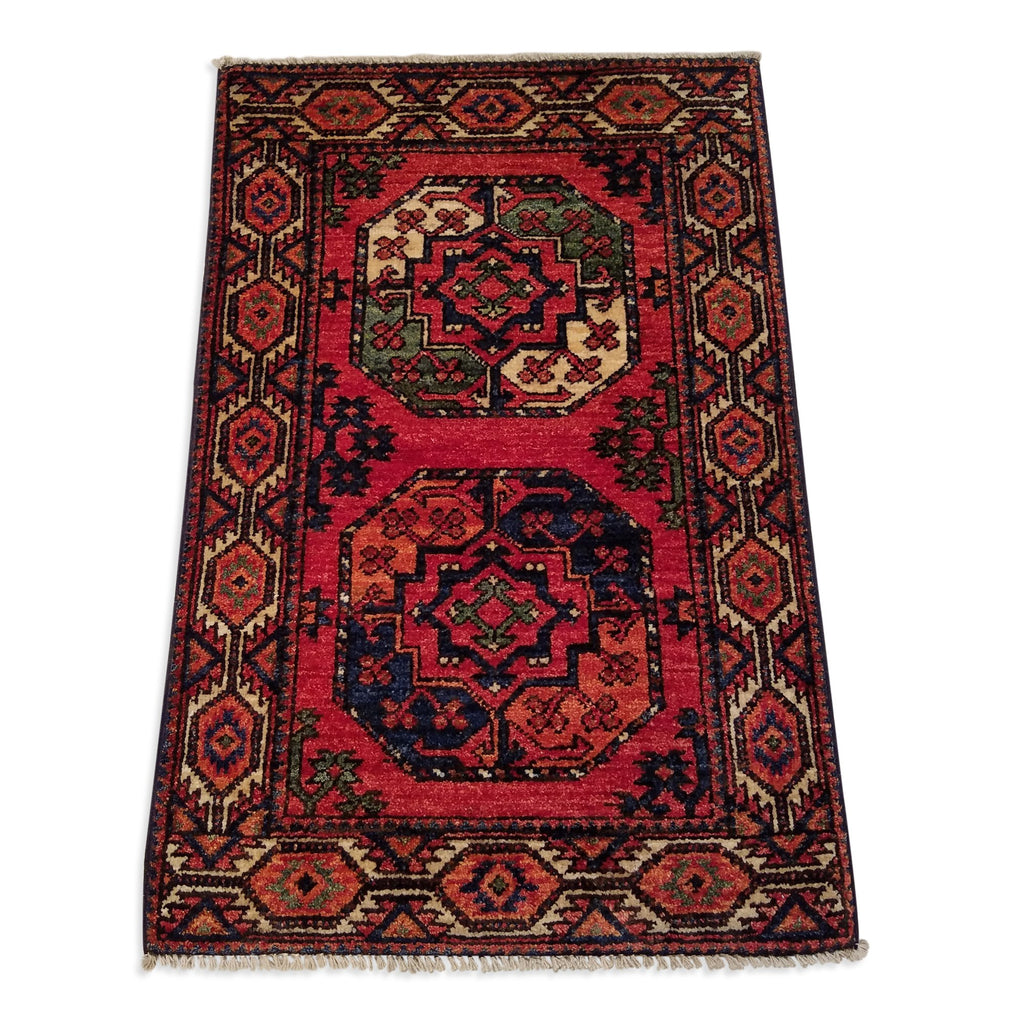 "1'11"" x 2'11""   Ersari Turkmen Design Rug Back View"