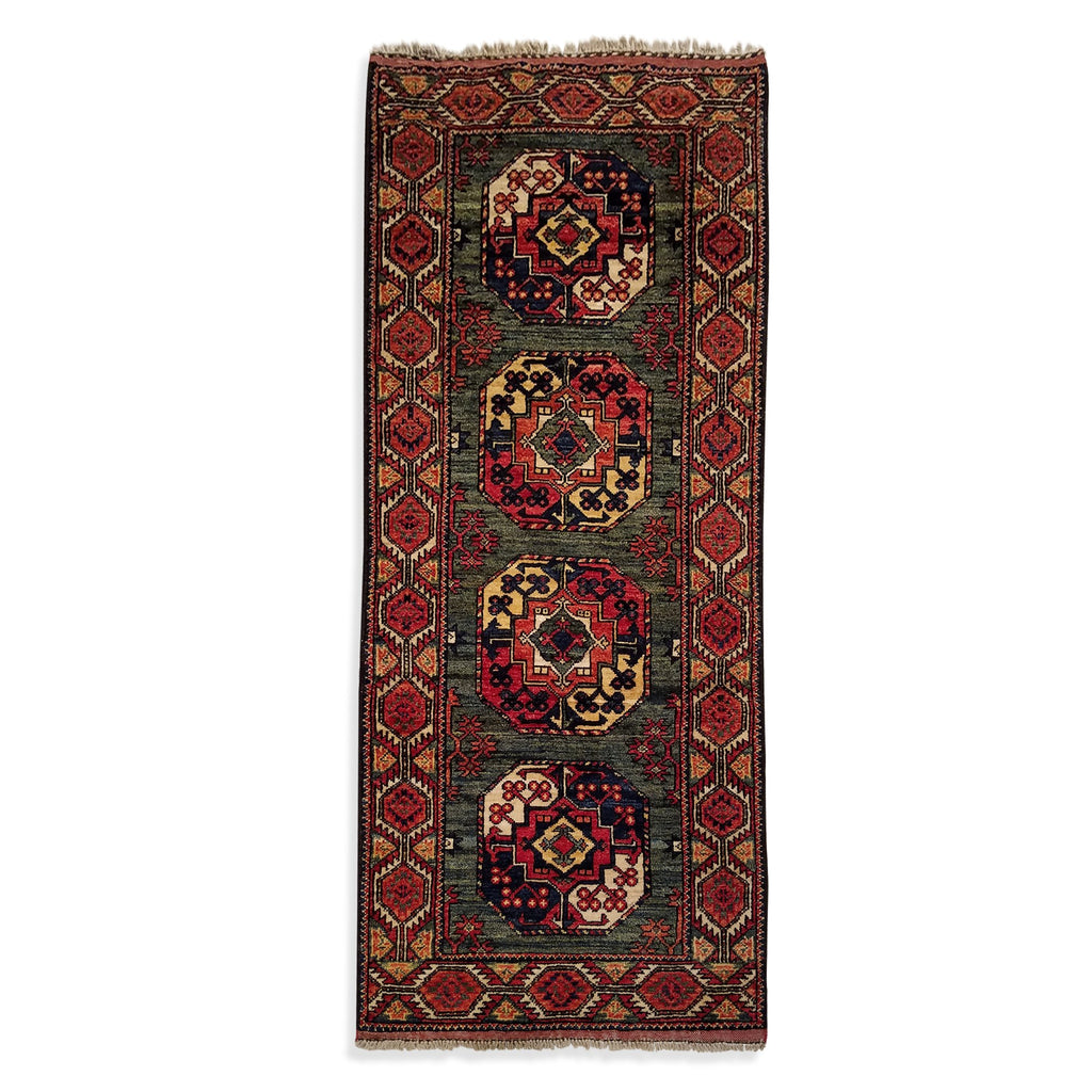 "2'6"" x 6'2""   Ersari Turkmen Design Runner Rug Top View"