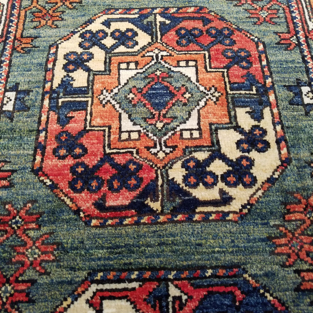 "2'6"" x 6'2""   Ersari Turkmen Design Runner Rug Angle View"