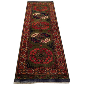 "2'11"" x 8'6""   Ersari Turkmen Design Runner Rug Top View"