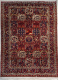 "7'3"" x 10'0""   Antique Persian Bakhtiar Garden of Eden Rug Top View"