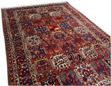 "7'3"" x 10'0""   Antique Persian Bakhtiar Garden of Eden Rug Angle View"