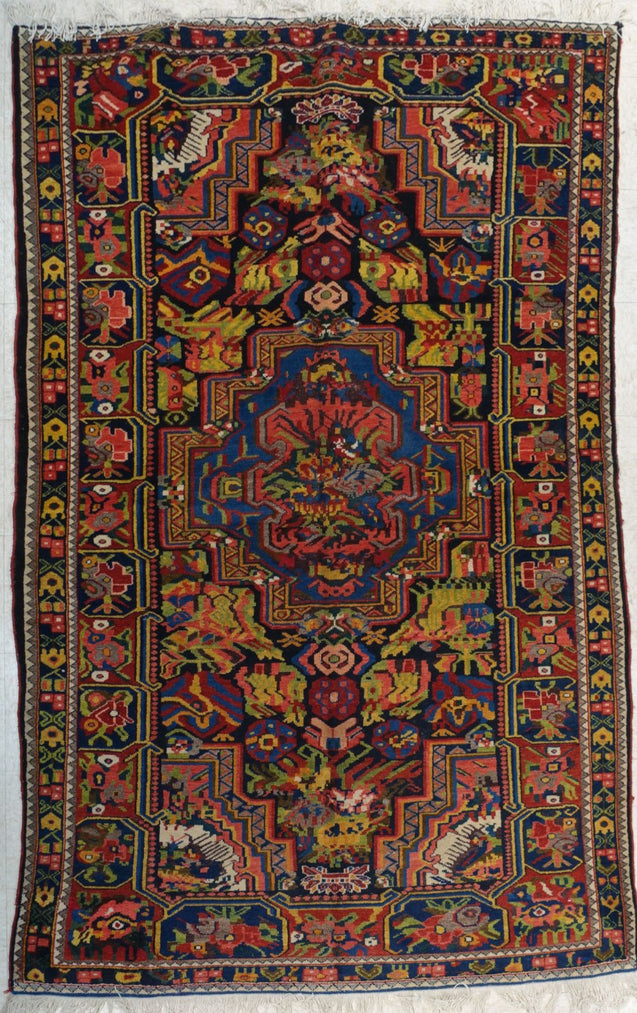 "5'4"" x 8'6""   Antique Persian Southern Bakhtiar Rug Top View"