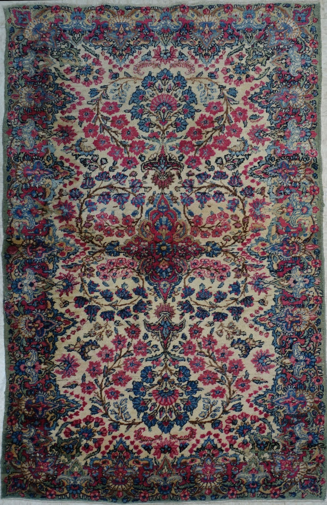 "3'0"" x 5'0""   Antique Persian Kerman Rug Top View"