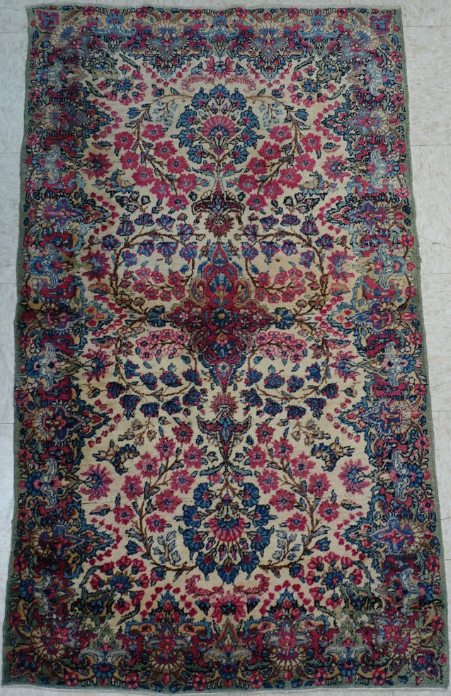 "3'0"" x 5'0""   Antique Persian Kerman Rug Angle View"
