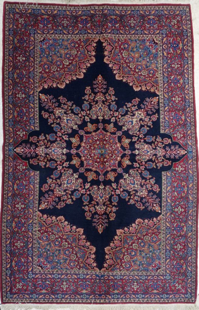 "4'9"" x 7'5""   Antique Persian East Iran Semnan Rug Top View"