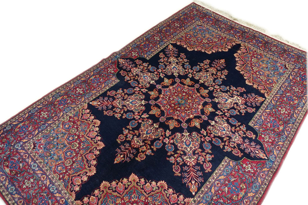 "4'9"" x 7'5""   Antique Persian East Iran Semnan Rug Angle View"