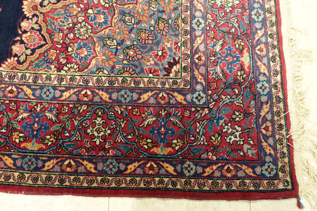"4'9"" x 7'5""   Antique Persian East Iran Semnan Rug Back View"